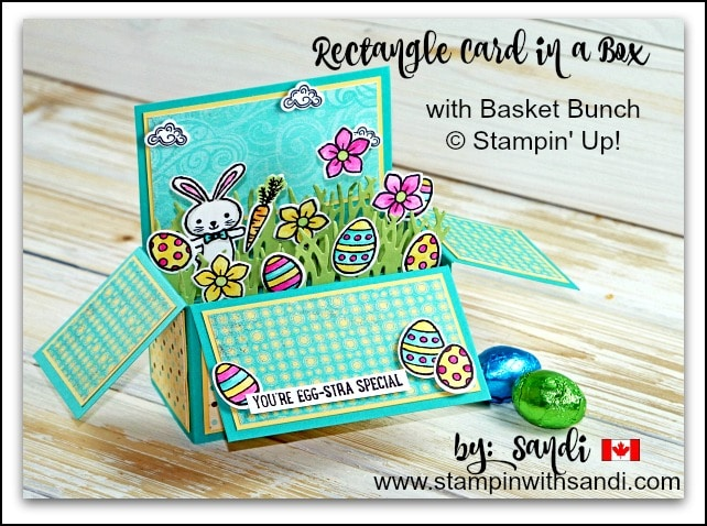 Rectangle Card in a Box with Basket Bunch