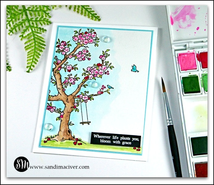 Blossoming watercolor card from sandimaciver.com