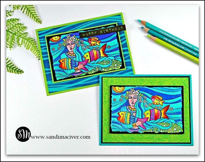 Mermaid Flow Happy Birthday Shelagh -Birthday Card from SandiMacIver.com