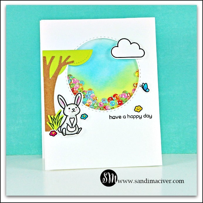 Lawn Fawn Butterfly Kisses - Shaker Card