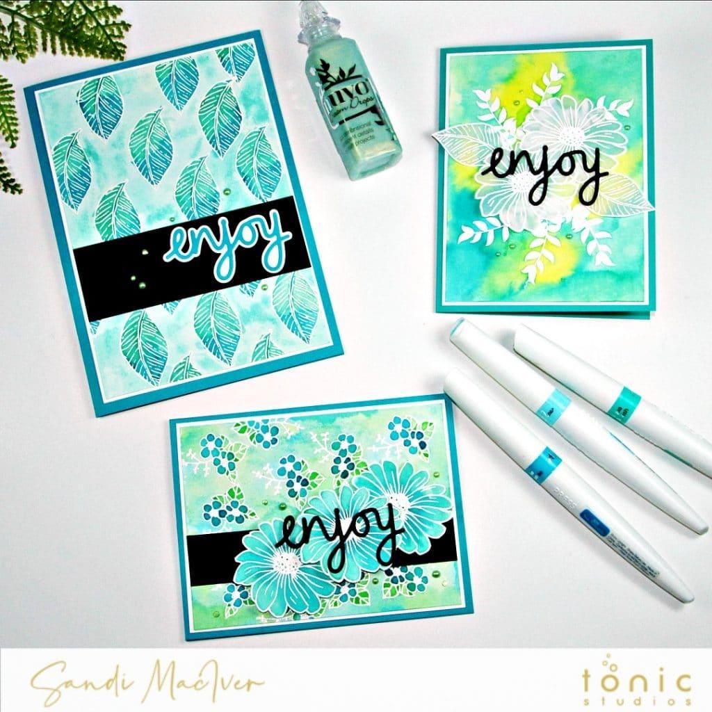 Tonic Studios Dainty Daisies and Aqua Pens