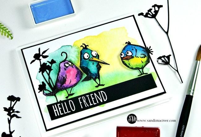 Tim Holtz Crazy Birds watercolored