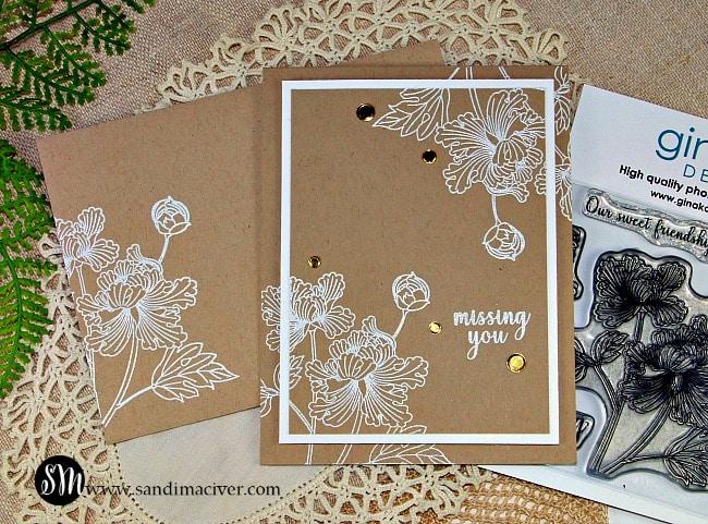 Sweet Friendship Gina K heat embossed card