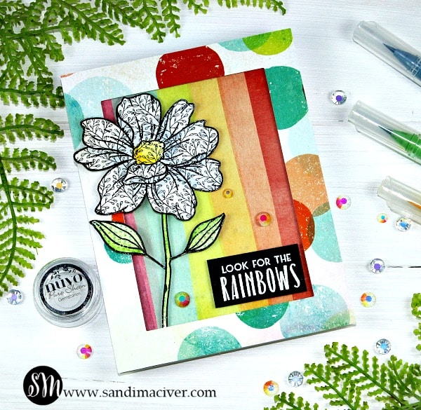 Look for the Rainbows stamping on patterned paper