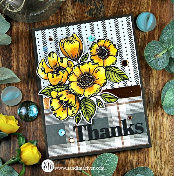 Simon Says Stamp thankful Flowers in Yellow