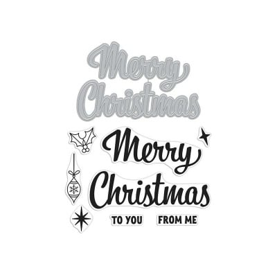 Merry Christmas Script stamp and cut