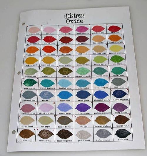 Ranger Distress Oxide Color Index sheet