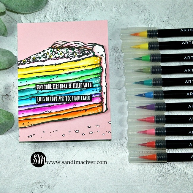 Arteza Real Brush Pens and Colorado Craft Company Birthday Cake