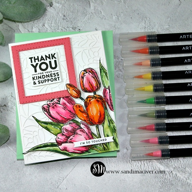 Arteza Real Brush Pens and Picket Fence Early Tulip Bouquet
