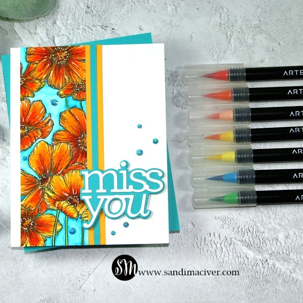 Arteza Real Brush Pens and SImon Says Stamp Cosmos Background 3