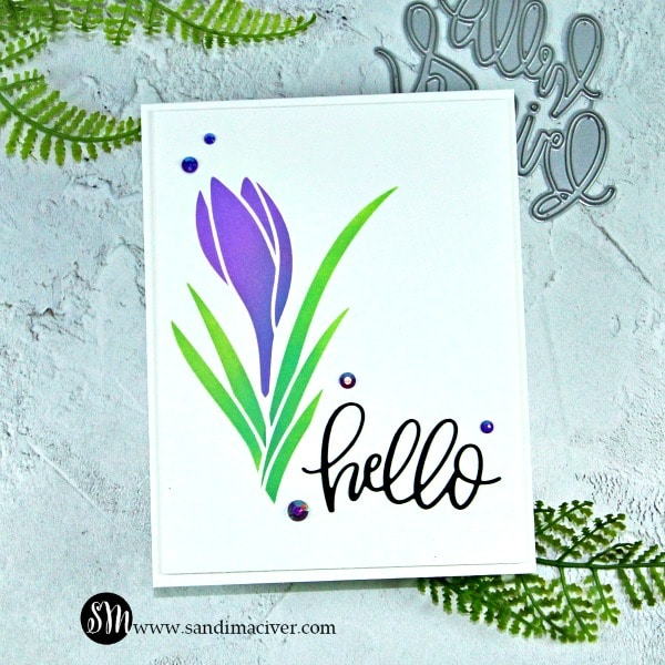 1 stencil 3 cards with the Crocus Stencil from Pretty Pink Posh