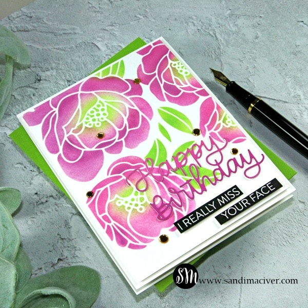 Peony Bouquet Stenciled Birthday