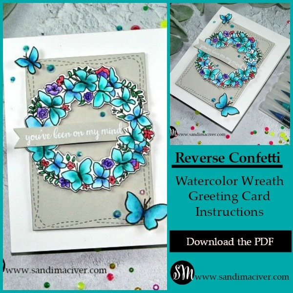 Reverse Confetti Butterfly Wreath Card in Turquoise