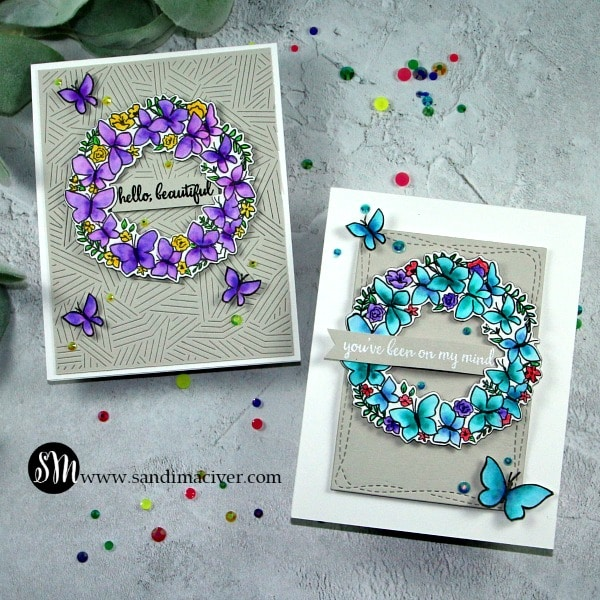 Reverse Confetti Butterfly Wreath Cards