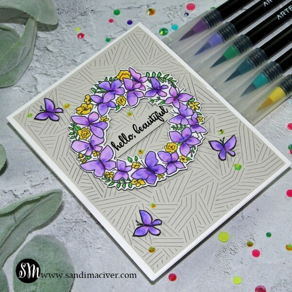 Reverse Confetti Butterfly Wreath purple