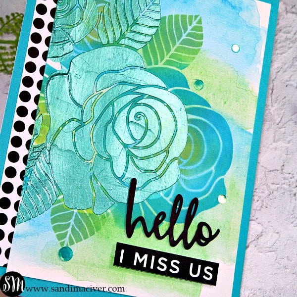 Simon Says Stamp Rose Trio Stencil and layered stencils with paper glaze video