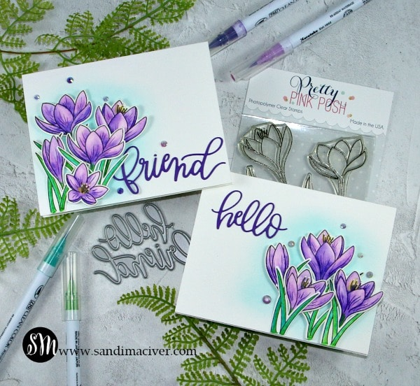 Pretty Pink Posh Crocus Flowers water colored with Zig Clean Color Real Brush Pens