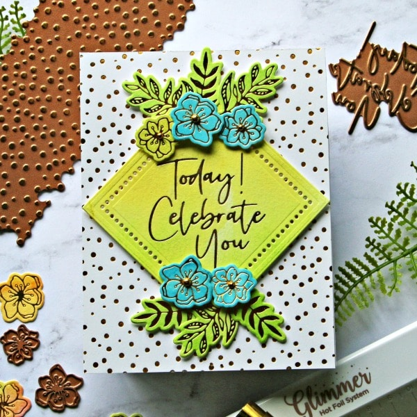 Spellbinders Stylish Script Collection Yellow card
