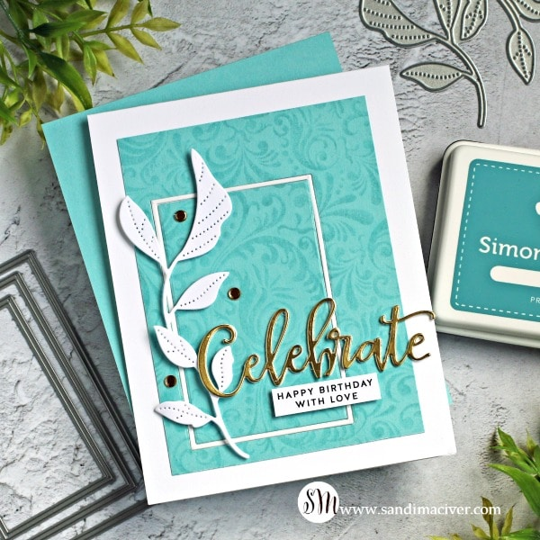 Simon Says Stamp Stamptember Damask Background and Tender Leaves Blue