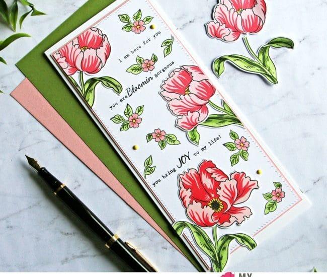 Slimline card Altenew Build a Flower Poppy