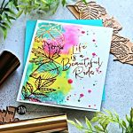 4 New Glimmer Foiled Cards Autumn Leaf Border water colored