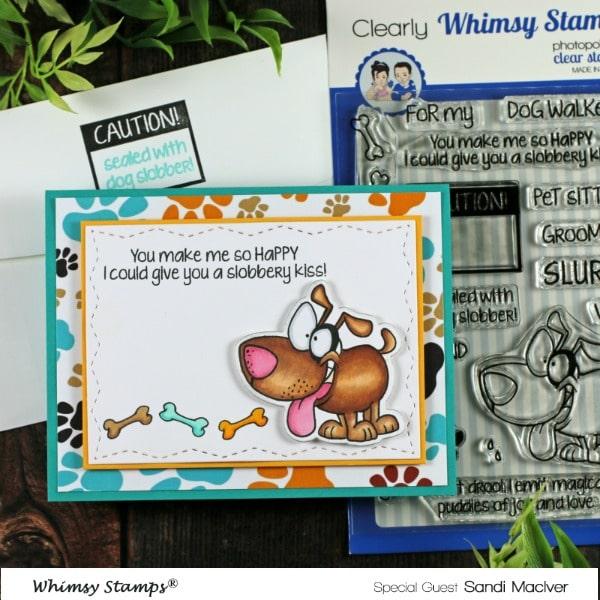 Whimsy Stamps Caution Dog Slobber