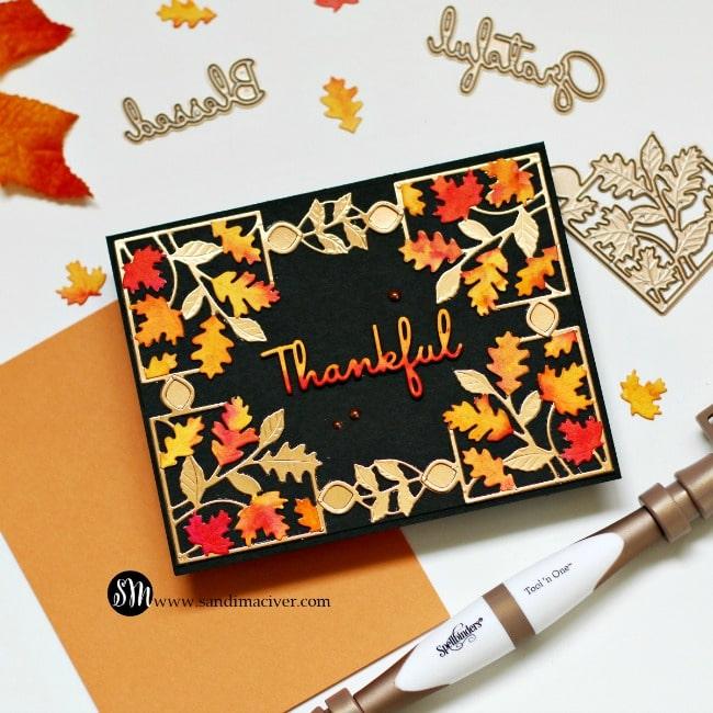 Spellbinders October Small Die of the Month Black Card - Sandi MacIver