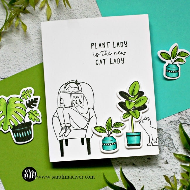 Spellbinders Take Time For You plant lady card 1