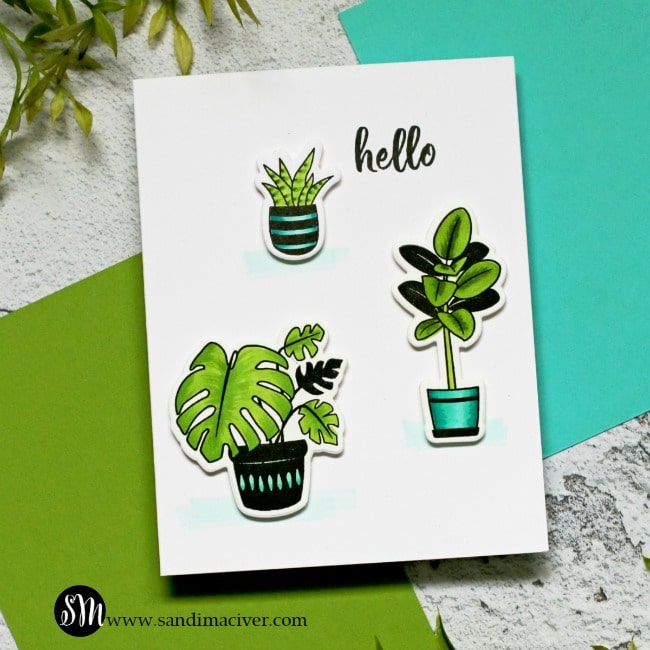 Spellbinders Take Time For You plant lady card 2
