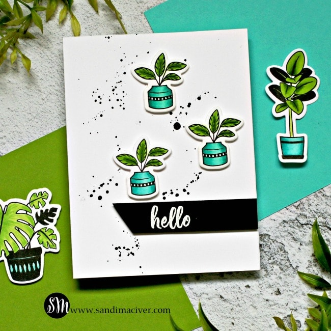Spellbinders Take Time For You plant lady card 3