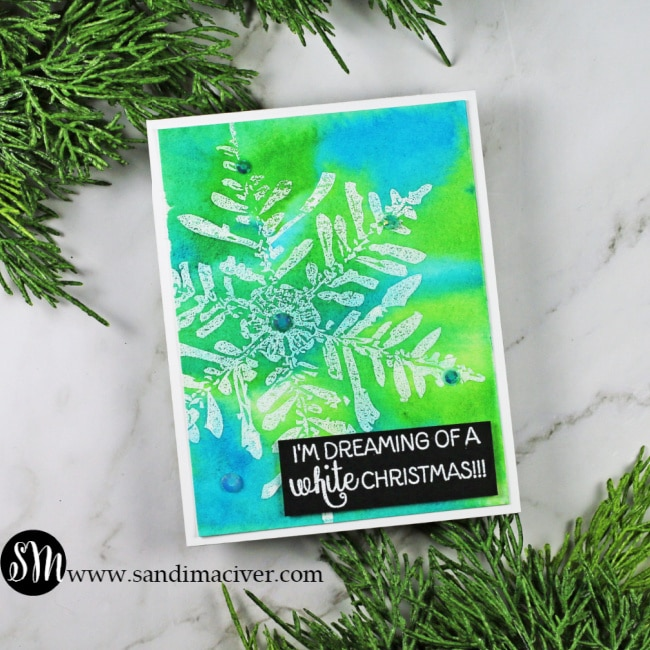 Nuvo Shimmer Powder Snowflake Cards blue and green