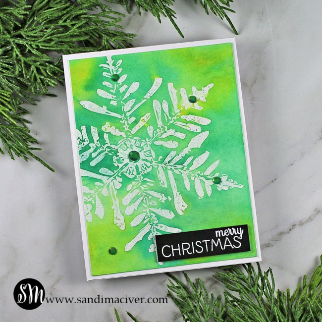 Nuvo Shimmer Powder Snowflake Cards green and yellow