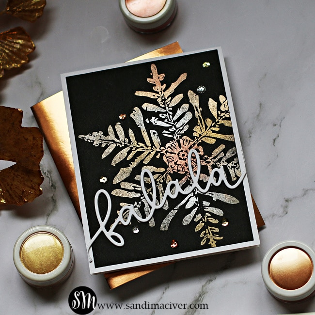 Metallic Snowflakes with Perfect Pearls square