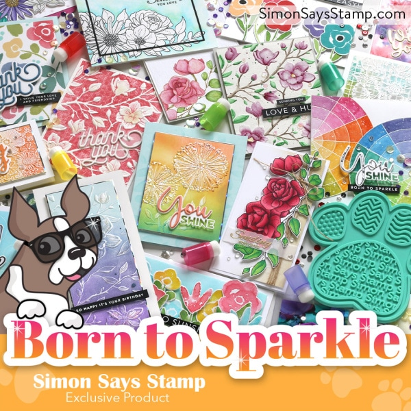 PIcture of handmade cares created with products from the Simon Says Stamp Born to Sparkle release