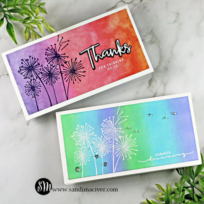 picture of two handmade mini slimline cards created with the Simon Says stamp Dandelion Messages Card Kit
