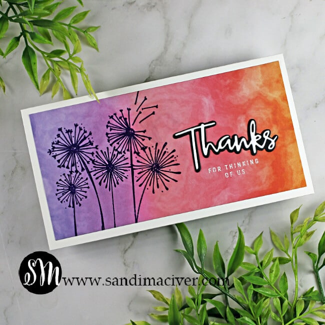 handmade mini slimline card created with the SImon Says Stamp Dandelion Messages stamp set