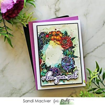 Picket Fence Studios Flower Wreath Card