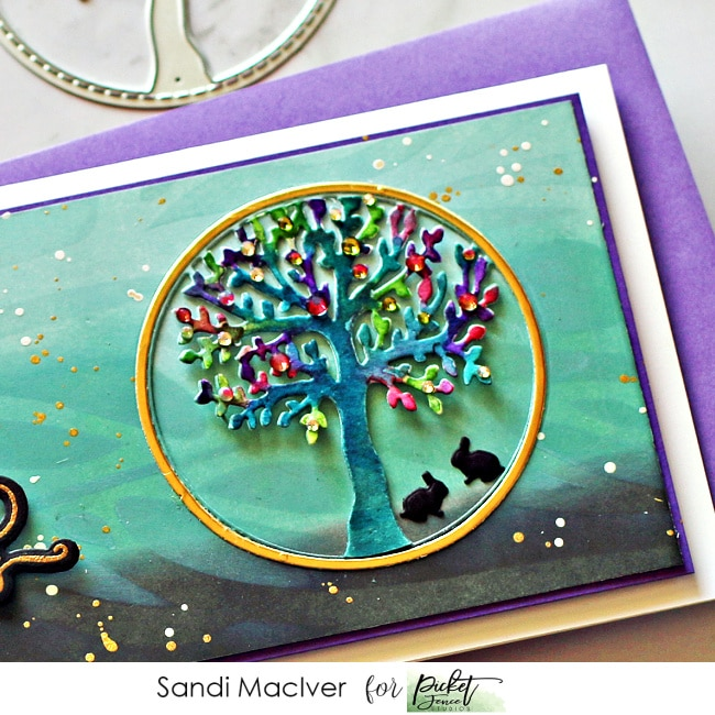image of a hand made card created with the Picket Fence Studios Tree Scenery Slimline Insert