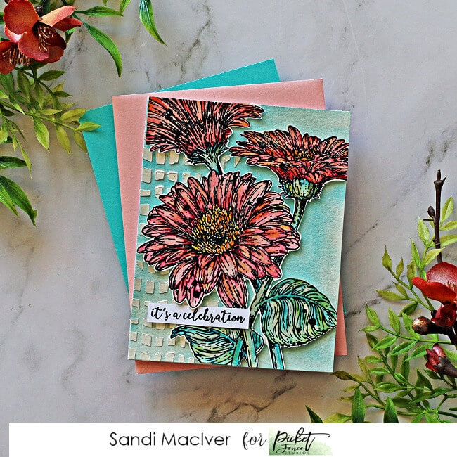 picture of a hand made card created with the Picket Fence Studios Wild Daisies Stamp