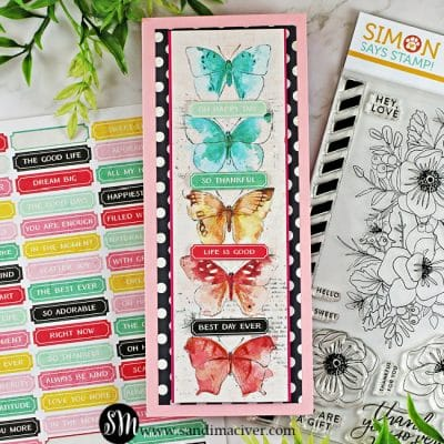 picture of a butterfly slimline card created with the SImon Says Stamp Friendly Flowers Card Kit