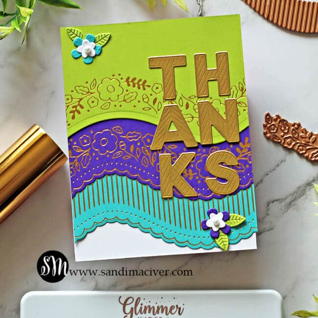 colorful hand made card created with the Spellbinders April Glimmer of the Month Kit