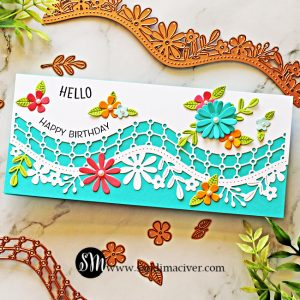 Bright and Cheery Slimline card created with the Spellbinders April Large Die of the Month Kit