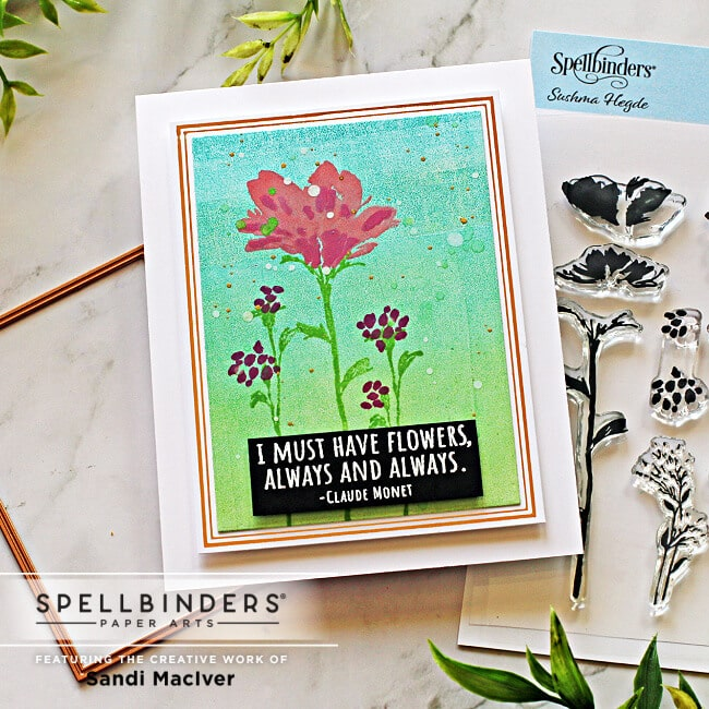 image of a handmade card created with the Spellbinders Layered Wildflowers stamp set