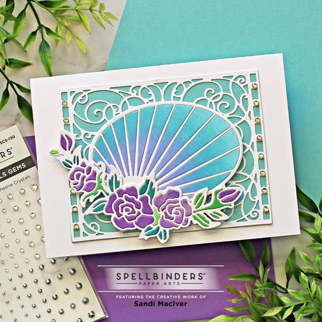 picture of a hand made greeting card created with the Spellbinders Stained Glass Dies Radiant Oval