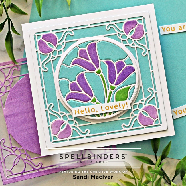 a hand made greeting card created with the Spelbinders Stained Glass Tulip Trio Die Set for card making and papercrafting