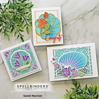 three hand made greeting cards created with Spellbinders Stained Glass Cards dies by Becca Feeken