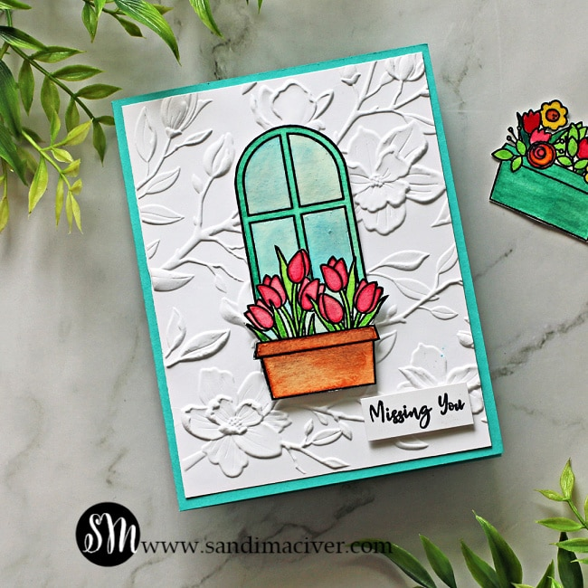 hand made card created with Simon Says Stamp Window Box blooms