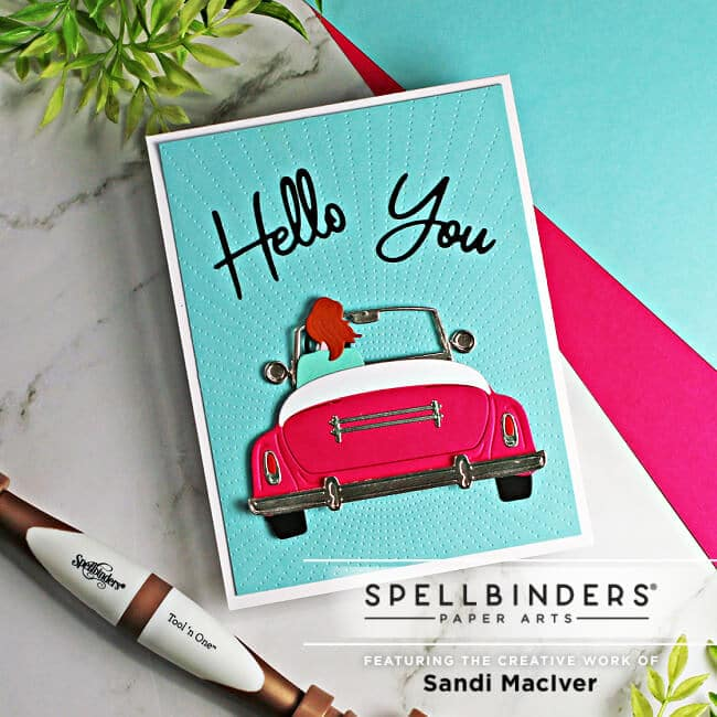 die cut hand made card using the Liberty Sunday Drive dies from Spellbinders