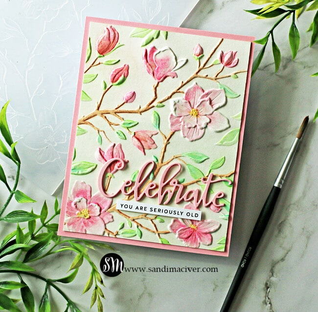 a hand made and hand painted card using the Magnolia Branches embossing folder from Simon Says Stamp