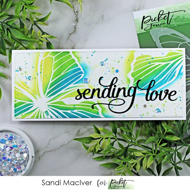 hand made slimline greeting card created with the Soar Butterfly Stencil from Picket Fence Studios